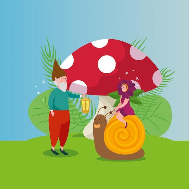 Cute snail with dwarf in scene fairytale Free Vector