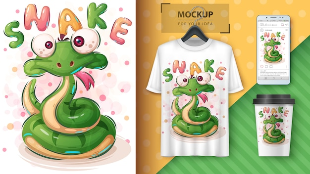 Cute snake poster and merchandising Free Vector