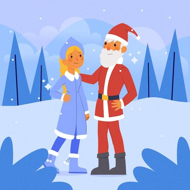 Simpatico personaggio fanciulla di neve Vettore gratuito