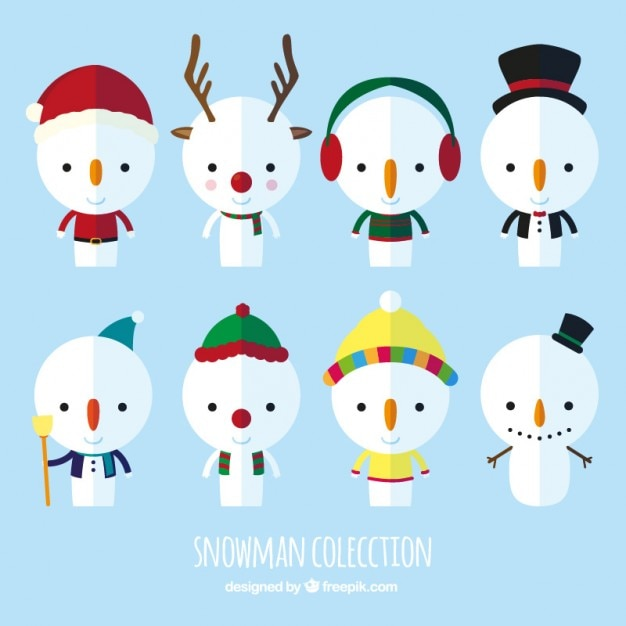 cute snowman collection vector premium download