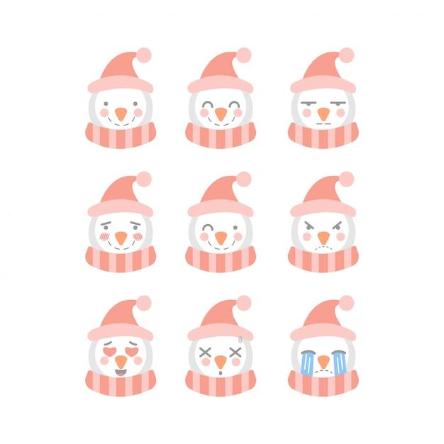 Cute snowman emoticon set Premium Vector