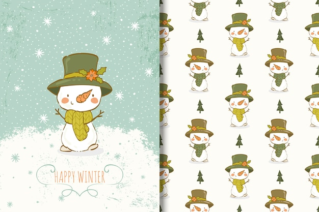 Cute snowman hand drawn illustration. card and seamless pattern Premium Vector
