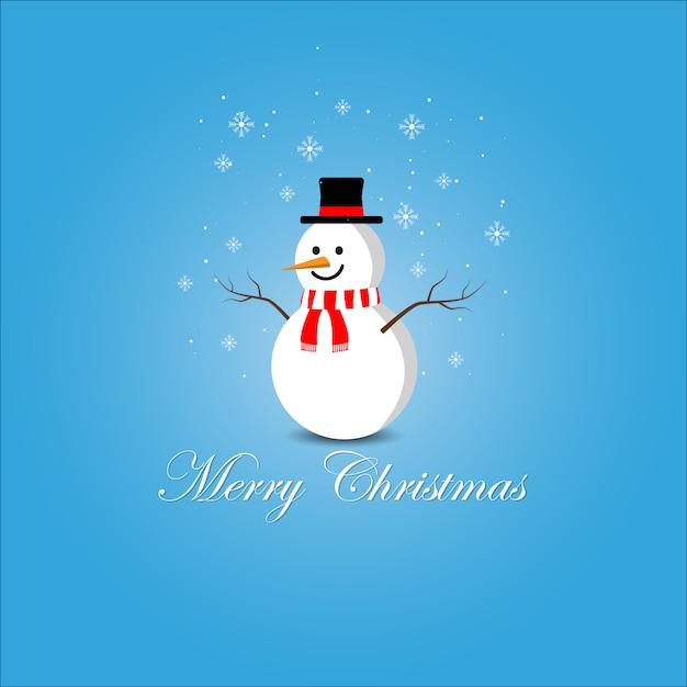 Cute snowman merry christmas vector Premium Vector