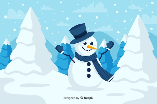 Cute snowman with top hat and christmas trees in the snow Free Vector