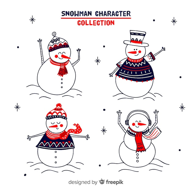 Cute snowmen hand drawn collection with winter clothes Free Vector