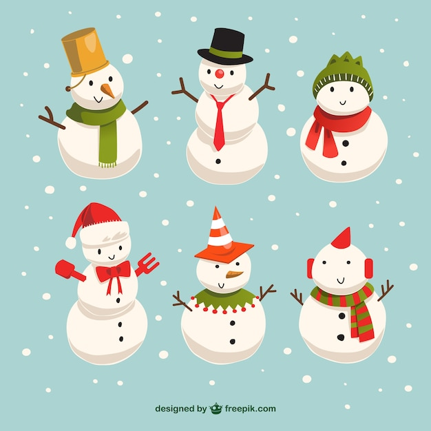 Cute snowmen Free Vector