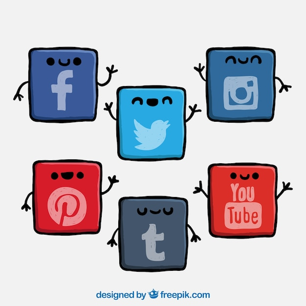 Cute Social Network Icons Vector Free Download
