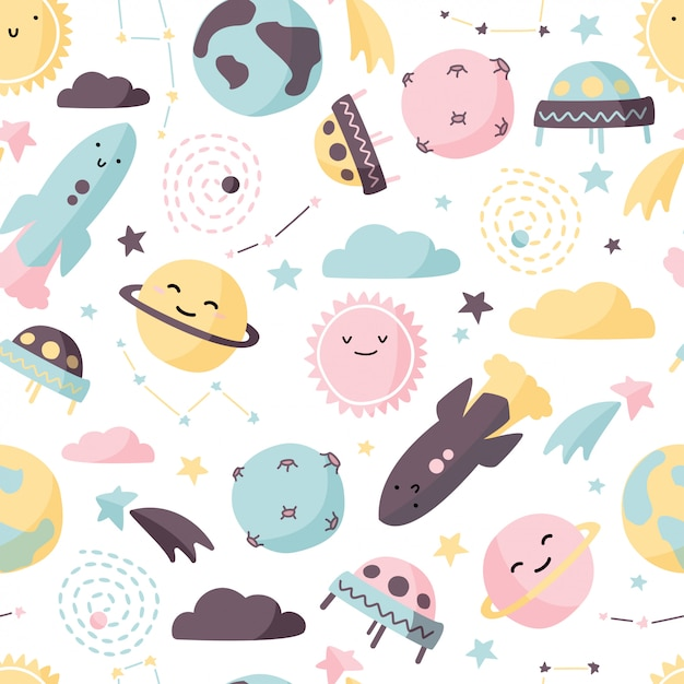 Cute space background. Premium Vector