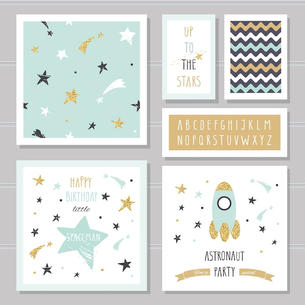 Cute space cards with glitter for kids Premium Vector