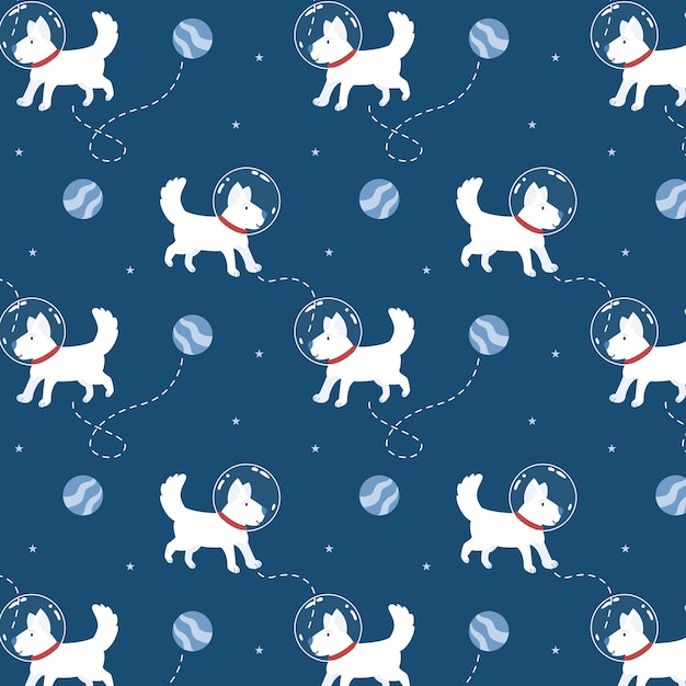 Cute space dog in seamless pattern Premium Vector
