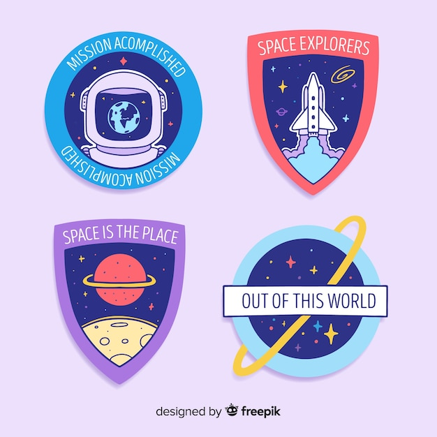 Cute space stickers pack Free Vector