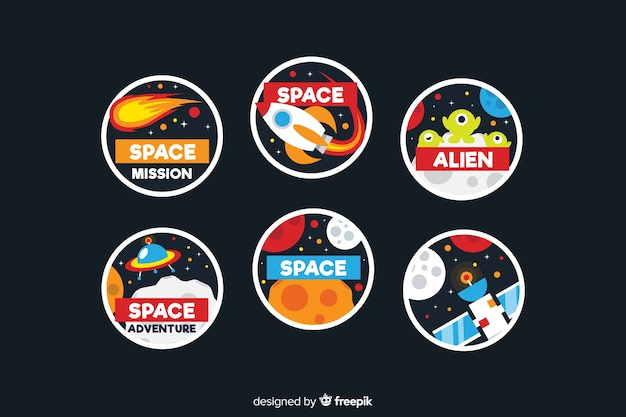 Cute space stickers set Free Vector