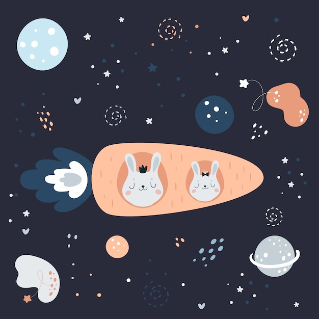 Cute spaceship rabbit bunny in carrot rocket in space go to the moon in fantasy night sky with planets, stars and cloud Premium Vector