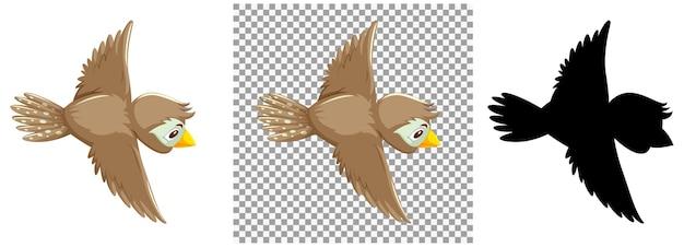 かわいいスズメの鳥の漫画のキャラクター Premiumベクター