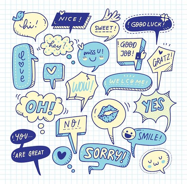 Cute speech bubble doodle set Premium Vector