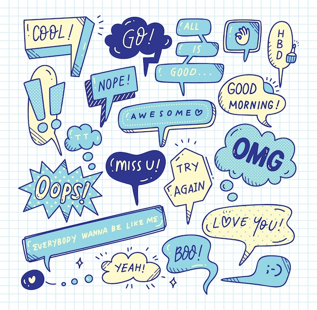 Cute speech bubble doodle set Premium Vector