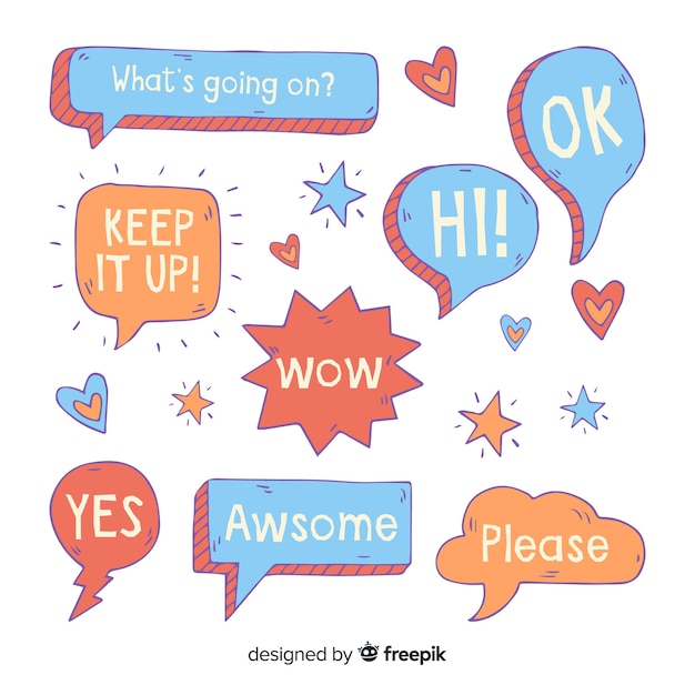 Cute speech bubbles with different expressions Free Vector