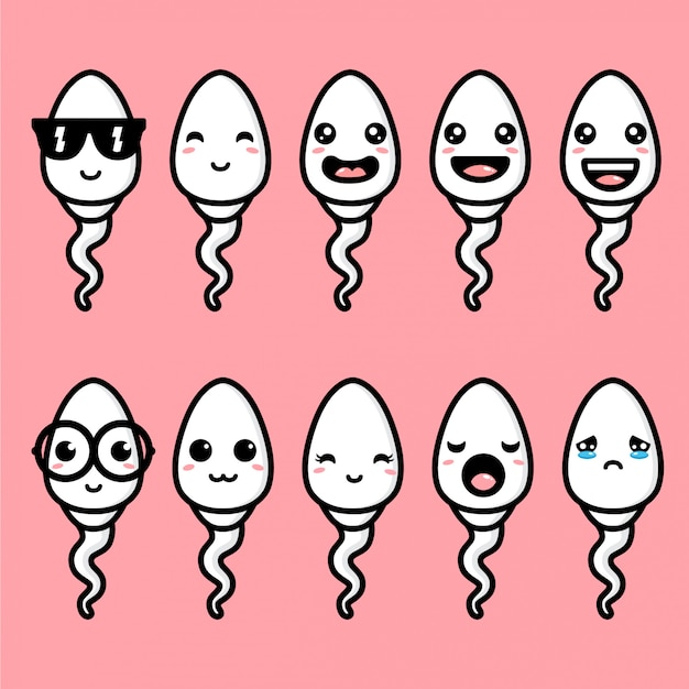 Cute sperm mascot vector design Premium Vector