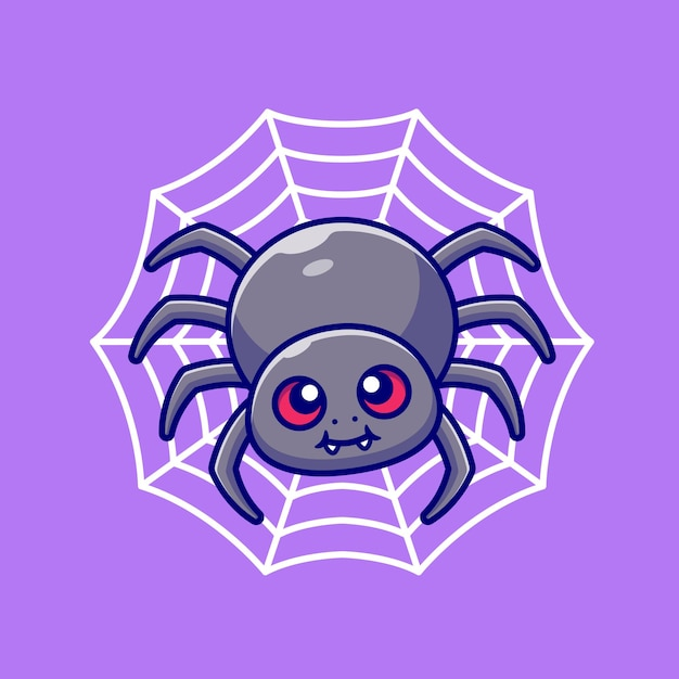 Cute spider with net cartoon  illustration. animal nature  concept isolated . flat cartoon style Free Vector