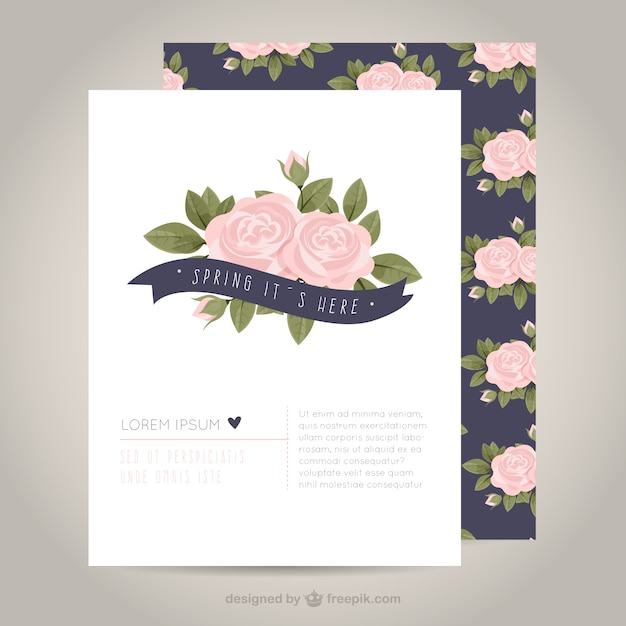 Cute spring card with roses