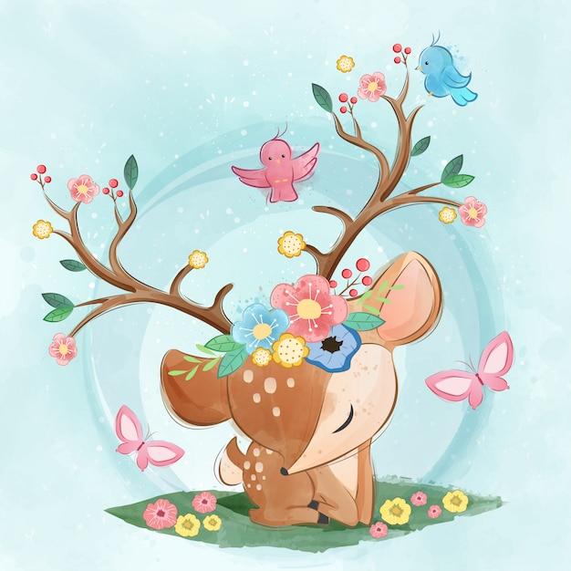 Cute spring deer Premium Vector