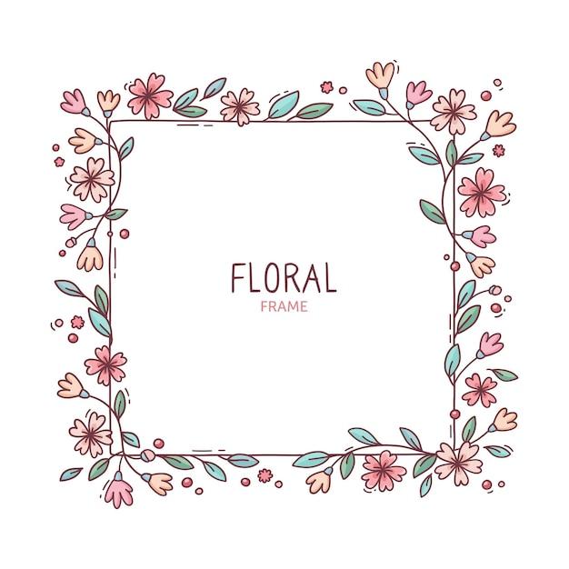 귀여운 봄 꽃 프레임 무료 벡터