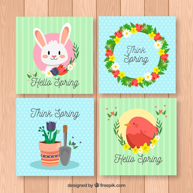 Cute spring greeting card collection vector free download cute spring greeting card collection free vector m4hsunfo