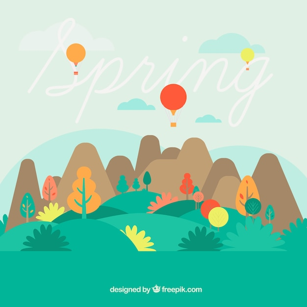 Cute spring landscape with mountains and\ balloons