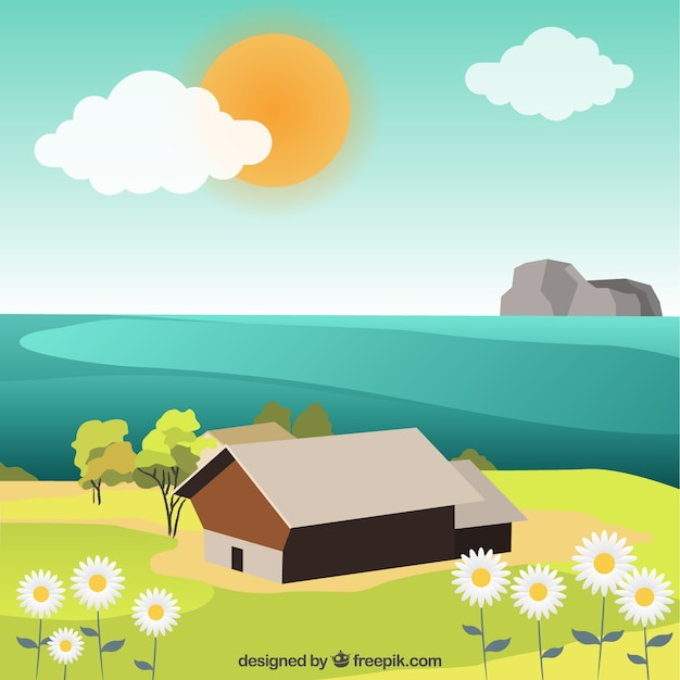 Cute spring landscape with sea