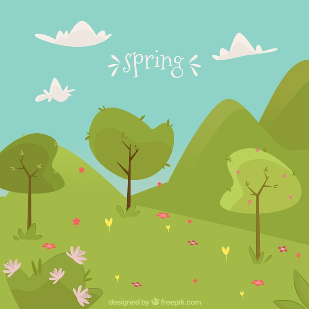 Cute spring landscape with trees