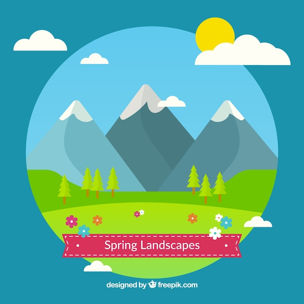 Cute spring landscapes in flat design