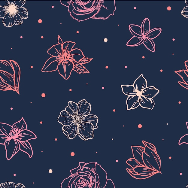 Cute spring seamless pattern from sketched flowers Premium Vector
