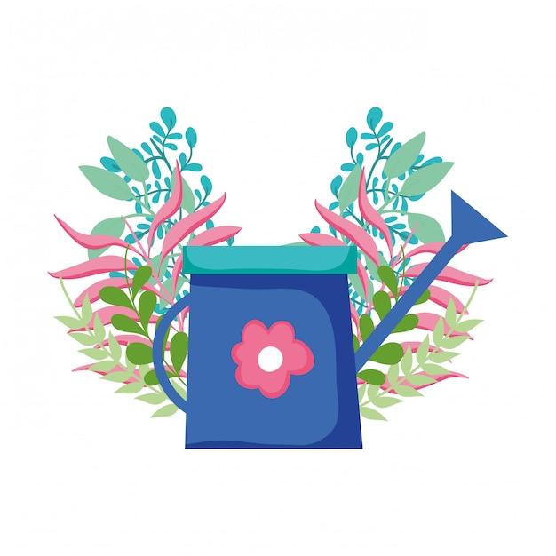 Cute sprinkler of garden with floral decoration Premium Vector