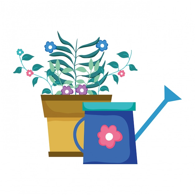 Cute sprinkler of garden with houseplant Premium Vector