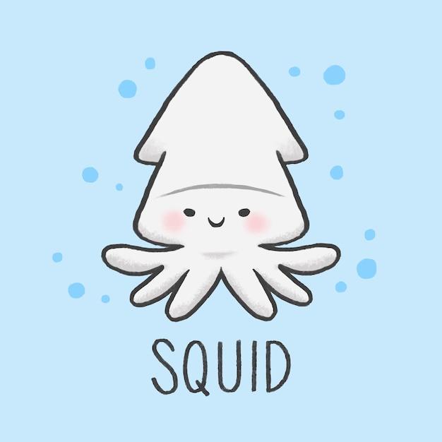 Cute squid cartoon hand drawn style Vector | Premium Download