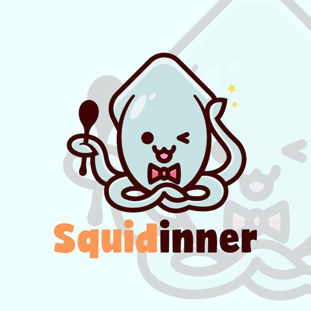 premium vector cute squid logo hold a spoon and smiling cartoon logo freepik