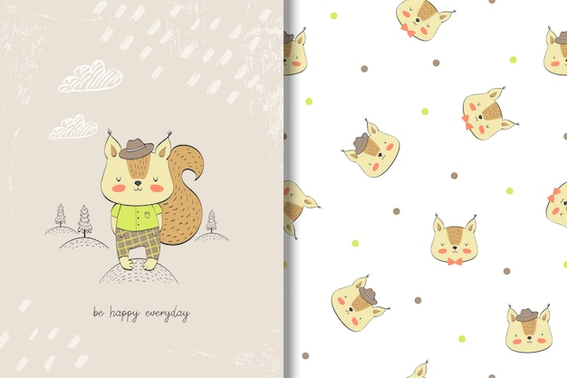 Cute  squirrel baby card and seamless pattern. Premium Vector