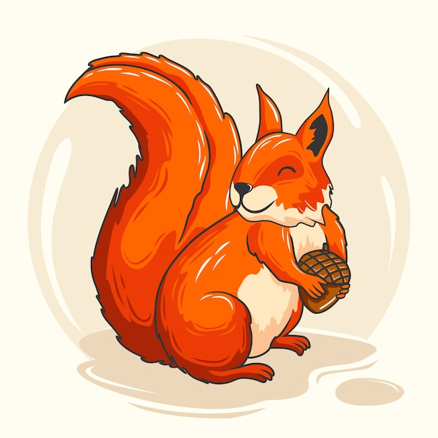Милая белка мультфильм животных красный бурундук Premium векторы