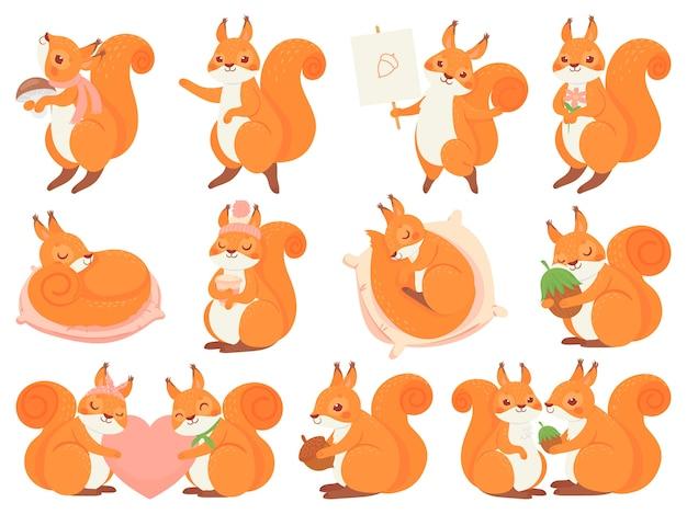 귀여운 다람쥐 만화 마스코트 무료 벡터