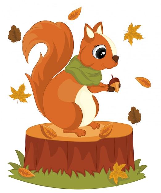 Милая белка с иллюстрацией вектора осени листвы пня жолудей здравствуйте! белка мультфильм осенняя открытка. Premium векторы