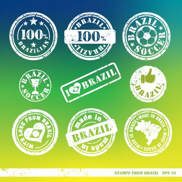 Cute stamps from brazil Free Vector