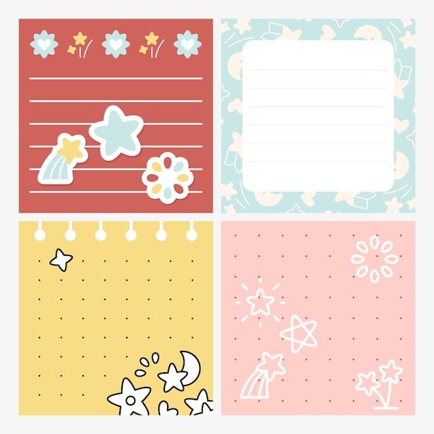 Cute star design memo set Free Vector