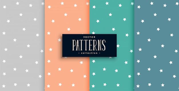 많은 색상으로 설정된 귀여운 별 패턴 무료 벡터