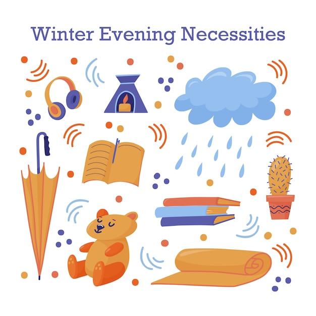 Cute sticker set with late autumn, fall, winter necessities Premium Vector