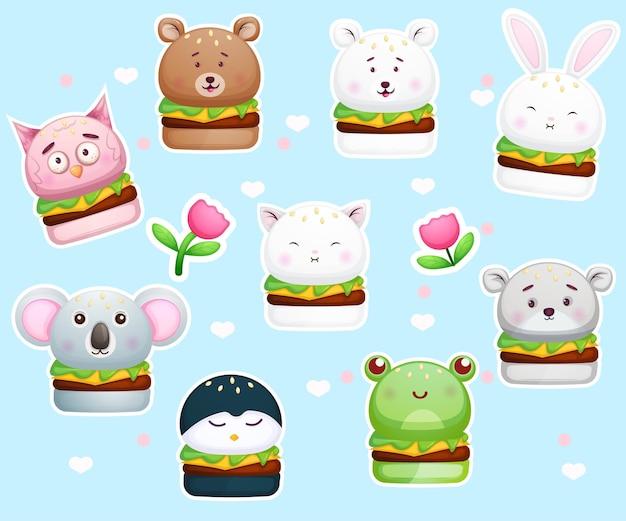 Симпатичные наклейки бургер в форме животных. Premium векторы
