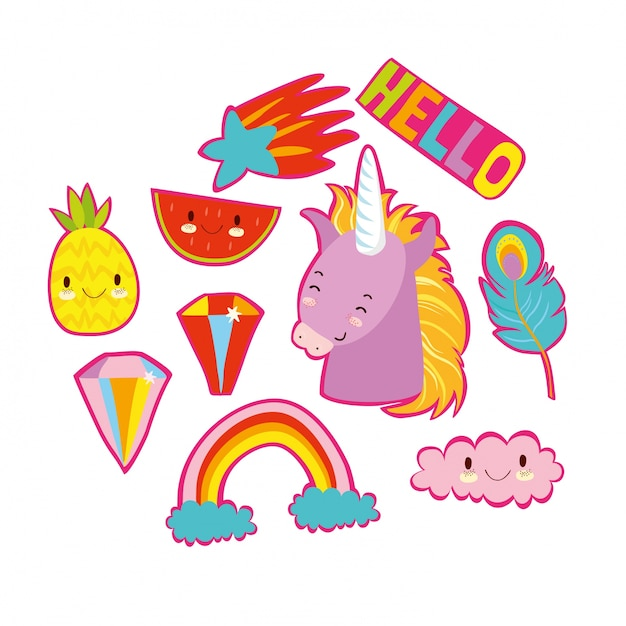 cute stickers vector collection imagination drawn hand
