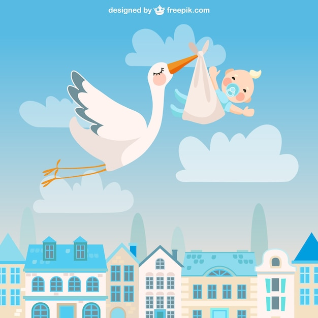 Cute stork with a baby Free Vector