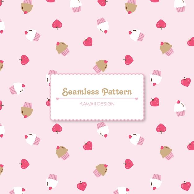 귀여운 딸기와 컵 케이크 원활한 패턴 프리미엄 벡터