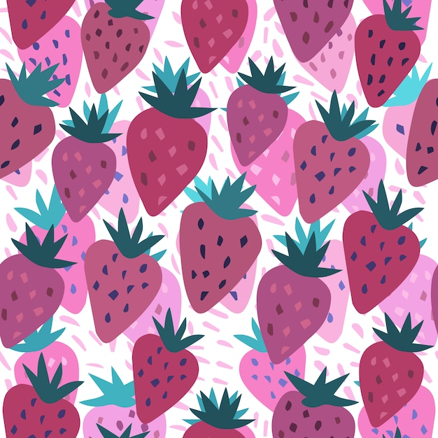 Cute strawberry and polka dot seamless pattern on white Premium Vector
