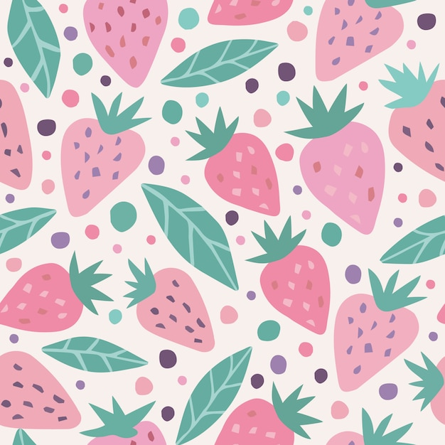 Cute strawberry and polka dots seamless pattern Premium Vector